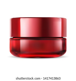 Cosmetic Jar. Glass Cream Bottle. Face Makeup Packaging Mockup. Milk Glossy Red Transparent Product. Vector Realistic Package. Facial Creme Pot Illustration. Medical Tube. Skin Powder.
