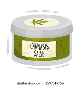 Cosmetic Jar of Salve With Main Cannabis Ingredient Vector Item