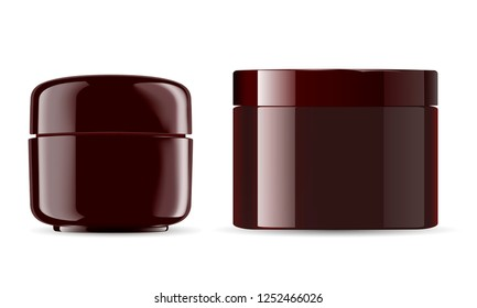 Cosmetic jars mockup pack. Amber color glossy plastic containers for cosmetic cream, powder, ointment. 3d amber containers realistic illustration.