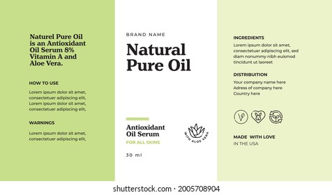 Cosmetic Label Template, Nature Cosmetic, Label Design, Green Label template design, aloe vera cosmetic, packaging design, natural oil, vegan cosmetic, product label, packaging,