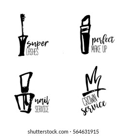 Cosmetic logo in hand drawn style, makeup, for beauty salon, stylist vector branding design with lipstick, nail polish, crown, mascara