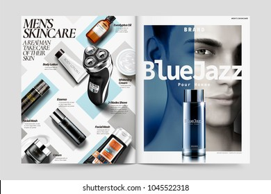 Cosmetic magazine ads, skin care products for men in 3d illustration, pour homme is for man in French language