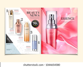 Cosmetic magazine ads, skincare products on satin background in 3d illustration