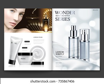 Cosmetic magazine design, attractive model with skincare sets on silky satin background in 3d illustration