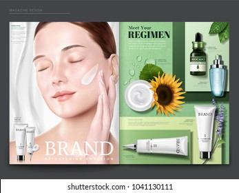 Cosmetic magazine template, elegant model with cream on her face, skincare products on green geometric background, in 3d illustration