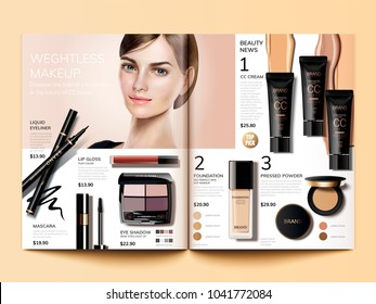 Cosmetic magazine template, fashion catalogue with cc cream and beautiful model in 3d illustration