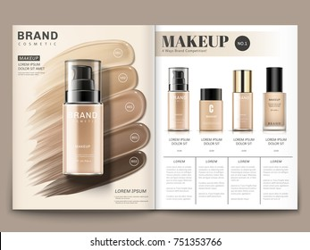 Cosmetic magazine template, foundation series with creamy texture in 3d illustration