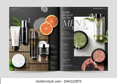 Cosmetic magazine template, fresh herbs products on marble stone and wood plate texture, 3d illustration