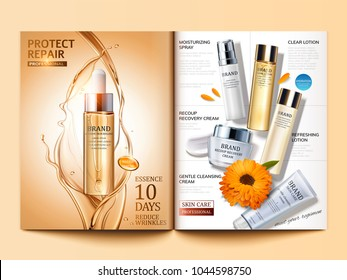 Cosmetic magazine template, golden hair oil and skin care products in 3d illustration