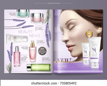 Cosmetic magazine template, lavender cream with beautiful model and top view of skincare products on purple background in 3d illustration