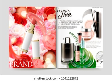 Cosmetic magazine template, lipstick and its texture isolated on rose background, other products list in the right page, 3d illustration