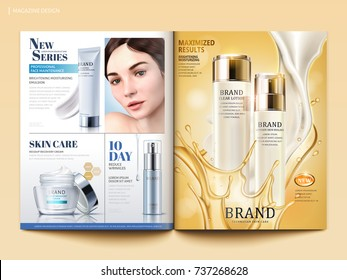 Cosmetic magazine template, lotion with flowing cream and oil in 3d illustration, product catalog for design