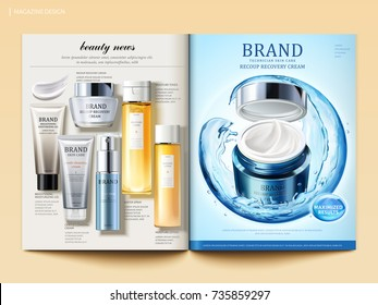 Cosmetic magazine template, moisture cream product with sphere composed by flowing water and top view of skincare products in 3d illustration