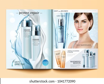 Cosmetic magazine template, moisturizing products with flowing water and cream texture in 3d illustration