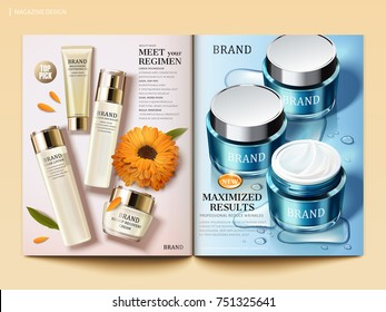 Cosmetic magazine template, Moisturizing skin care products with water drops and calendula elements in 3d illustration