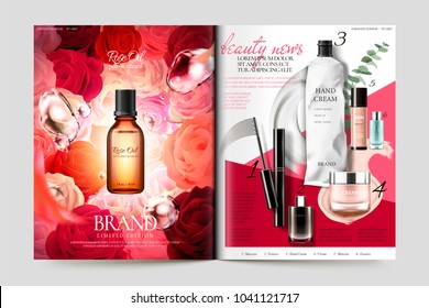 Cosmetic magazine template, rose oil glass bottle isolated on floral backgrounds and other products list on the right page, 3d illustration