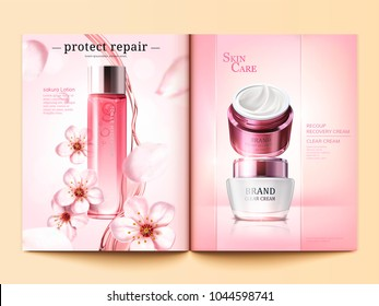 Cosmetic magazine template, sakura toner and cream products with flying petals in 3d illustration, pink background