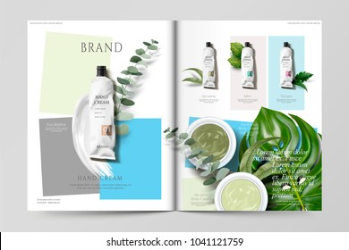 Cosmetic magazine template, set of hand cream products with green leaves, in 3d illustration
