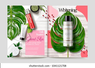 Cosmetic magazine template, skincare products on tropical leaves and wooden table, 3d illustration
