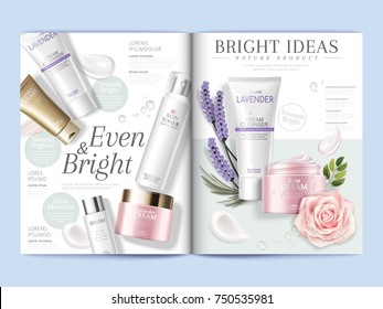 Cosmetic magazine template, skincare products with texture and floral elements in 3d illustration
