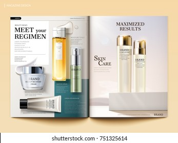 Cosmetic magazine template, skincare products with their texture isolated on geometric background in 3d illustration