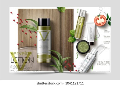 Cosmetic magazine template, verbena lotion on wooden table, 3d illustration