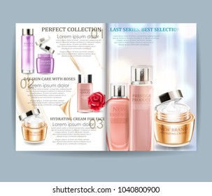 Cosmetic magazine. Vector realistic design for your projects