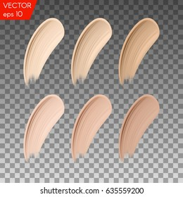 Cosmetic make up beige liquid foundation smudges range of colors on transparent background. Vector Illustration