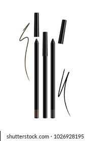 Cosmetic Make-up Eye liner Set Pencils Vector Isolated on White Background. Collection of lipliner pens for contour in glamour luxury vogue style. Color smear samples pencil stroke.