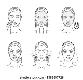 Cosmetic mask for the face. Steps how to apply a face mask. Cosmetics and care.