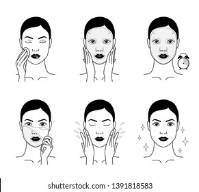 Cosmetic mask for the face. Steps how to apply a face mask. Cosmetics and care. Dark version.