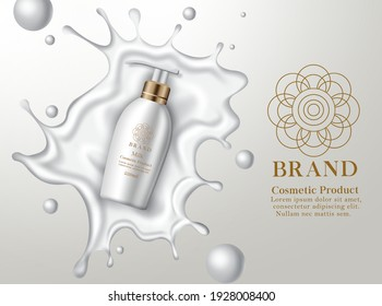 Cosmetic milk lotion product vector banner template. Cosmetic body lotion product with liquid splash for smooth skin care mockup promotion advertisement design. Vector illustration