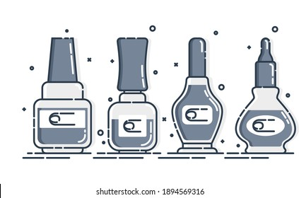 Cosmetic nail polish containers. Female fashion products. Three plastic or glass bottle label design. Fashion style. Closeup on white backdrop. Isolated object. Illustration isolated white background.