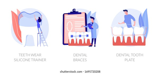 Cosmetic odontology and orthodontic procedures. Teeth straightening. Teeth wear silicone trainer, dental braces, dental tooth plate metaphors. Vector isolated concept metaphor illustrations.