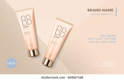 Cosmetic package advertising vector template for BB face cream or skin tone moisturizer tube on premlium beige with glitter background for product design