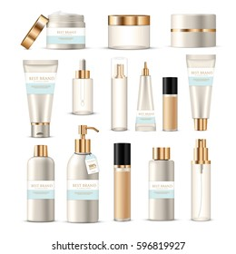 Cosmetic package collection of isolated beauty product images creams lotions with golden and silver  branding decoration vector illustration