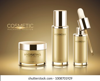 Cosmetic package design, champagne gold color containers with in 3d illustration