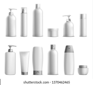 Cosmetic package mockup set. Collection of beauty product bottles and containers for cosmetics with silver caps and space for brand name isolated on white background. 3d realistic vector illustration.