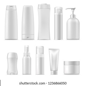 Cosmetic package mockups, 3d plastic bottle containers. Vector realistic set of shampoo or facial cream cleanser, lotion and liquid soap, deodorant stick and sprayer, shower and shave gel, conditioner