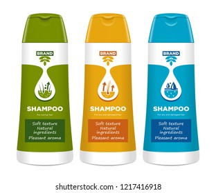 Cosmetic package template design, attractive packaging set with labels. Shampoo. Vector illustration.