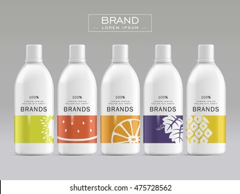 Cosmetic package template design, attractive packaging set with labels. 3D illustration.