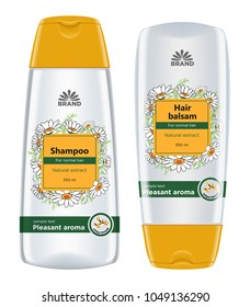 Cosmetic package template design. Shampoo and hair balsam bottle body care product with chamomile label design. Vector illustration.