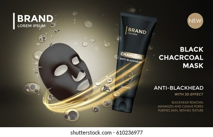 Cosmetic package vector advertising design template of facial charcoal anti blackhead mask. Premium skincare product of luxury black tube on golden sparkling background