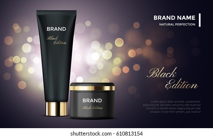 Cosmetic package or woman face cream premium product advertising vector template design. Skincare moisturizer black luxury tube and jar on golden sparkling background with light blur effect