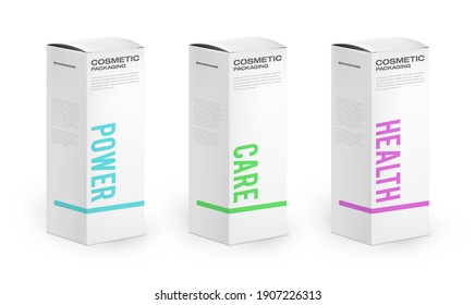 cosmetic packaging boxes with different products. Realistic 3d paper boxes with colorful packaging typography.