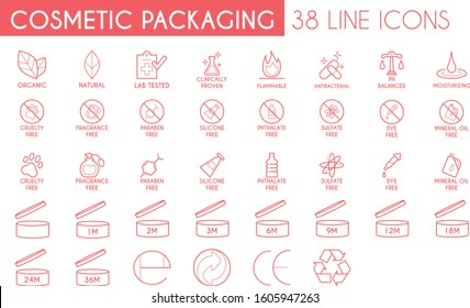 Cosmetic Packaging Line Icon Pack - 38 Icons