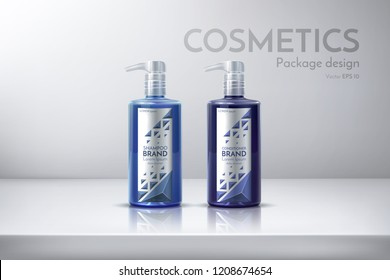 Cosmetic packaging for shampoo, conditioner, face cream, shower gel, spray, deodorant, lotion, shaving foam. Design bottle with a label. Realistic vector illustration