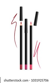 Cosmetic pink Make-up Eye liner Set Pencils with cap. Vector Isolated on White Background. Collection of lipliner pens for contour in glamour luxury vogue style. Color smear samples pencil stroke.