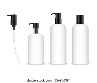 Cosmetic plastic bottle with black dispenser pump. Liquid container for gel, lotion, cream, shampoo, bath foam. Beauty product package, vector illustration.