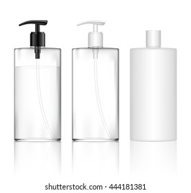 Cosmetic plastic bottle with dispenser pump (transparent). Liquid container for gel, lotion, cream, shampoo, bath foam. Beauty product package. Vector illustration.